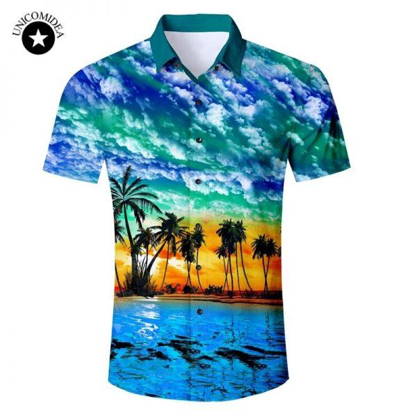Men Short Sleeve Shirt Casual Beach Hawaii Shirts